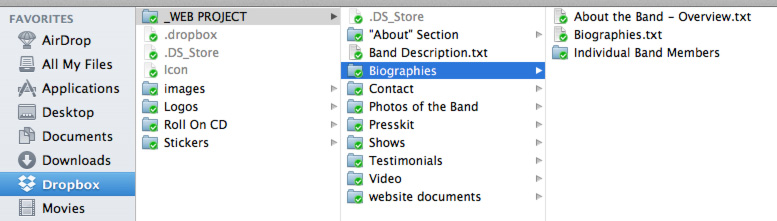 Screenshot of Dropbox folder