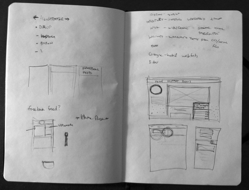 Image of sketchbook with notes and wireframe drawings