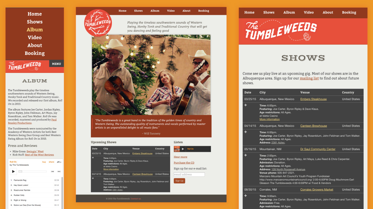 Screenshots of The Tumbleweeds website